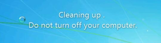 Cleaning up. Do not turn off your computer windows7