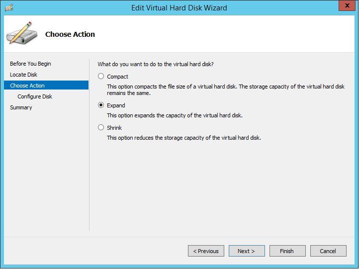 expand disk hyper-v 2012 r2