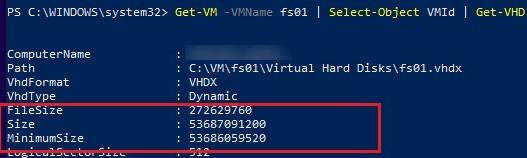 get vhdx virtual disk size on hyper-v via powershell