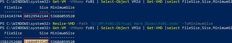 shrink vhdx disk on hyper-v with powershell