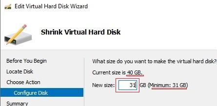 shrink virtual hard disk file using hyper-v manager