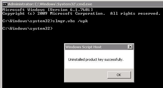 slmgr-  uninstall old kms key