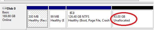 unallocated space on virtual disk inside virtual machine