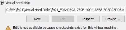 vhdx Edit is not available because checkpoint exist for this virtual machine