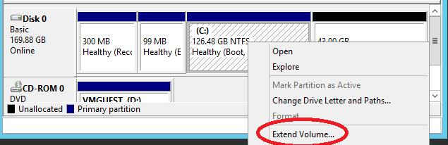 windows server - extend volume