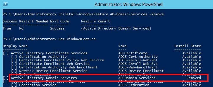 Delete unused roles in windows server 2012