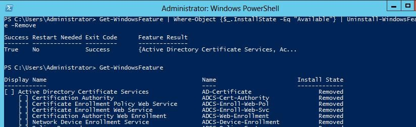 delete all unused roles windows server 2012