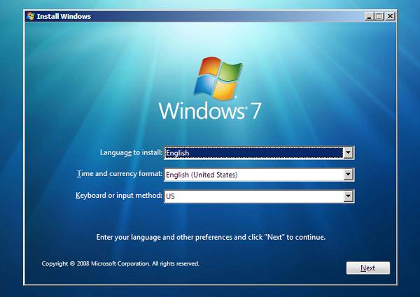 start windows 7 installation