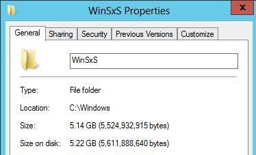 decrease winsxs folder windows server 2012