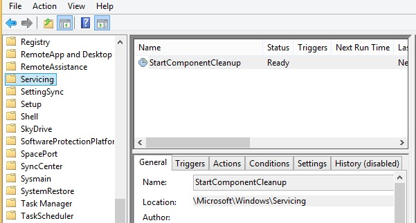 StartComponentCleanup task in win sheduler