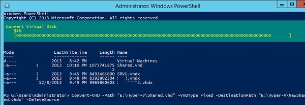 Convert VHD to VHDX with powershell
