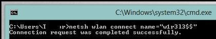 netsh connect to wlan from command prompt