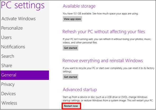 restart windows 8