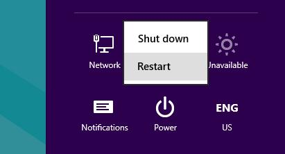 shift + restart buttons in win 8