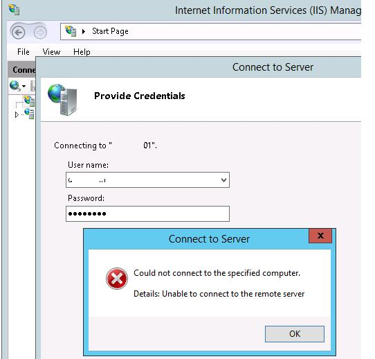 IIS console error: Could not connect to the specified computer