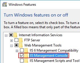 Turn on feature IIS Management Console