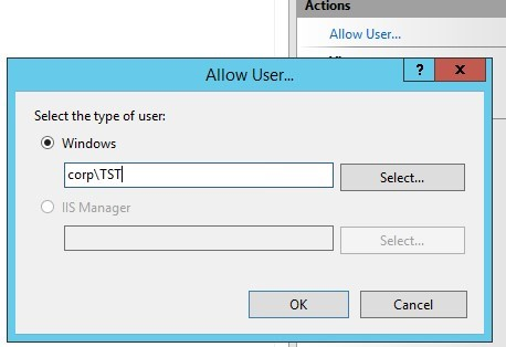 allow user to remotely manage the iis website