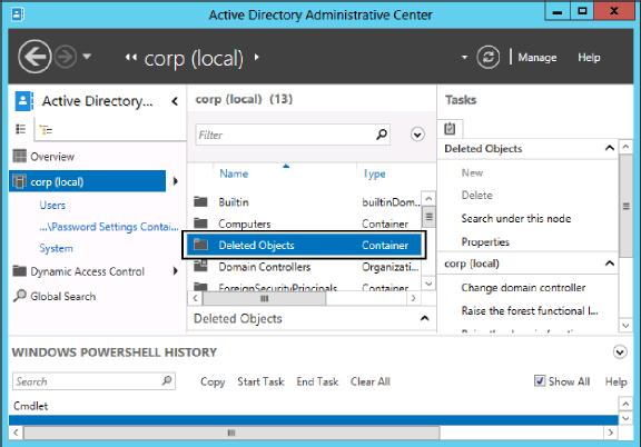deleted objects: new ou in active directory