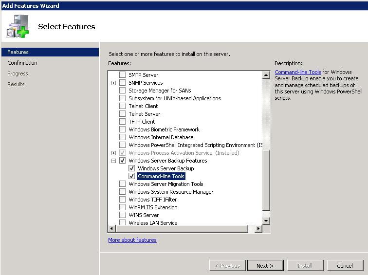install wsb from server manager gui
