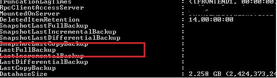 get last full backup status in exchange 2013