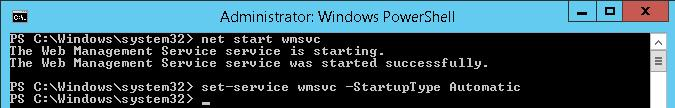 net start wmsvc (Web Management Service)