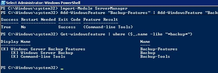 install windows server backup feature  on windows2008 r2 for exchange 2013