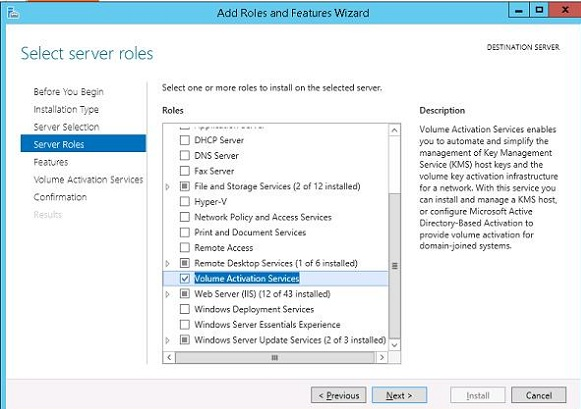 Install Volume Activation Services role in Windows Server 2012 R2