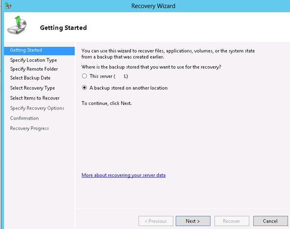 recover exchange db from another location