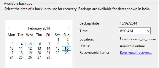 select from available exchange 2013 backups