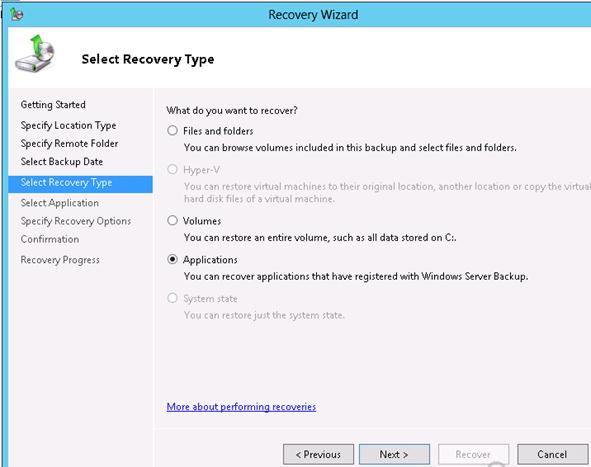 Windows Server Backup: Applications recovery