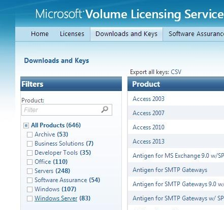 get gvlk key for kms service at Microsoft Site