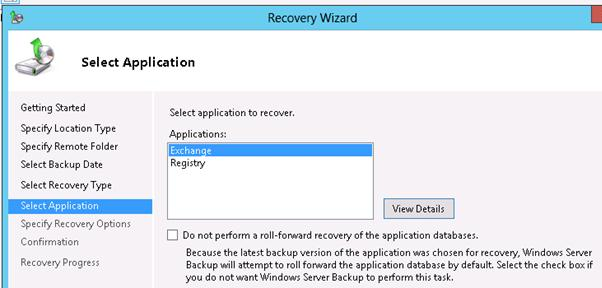Exchange 2013 recovery wizard