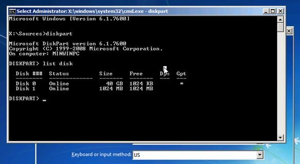 list disk with diskpart