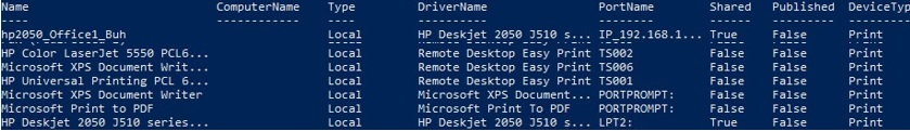 Get-Printer: list local printers with powershell