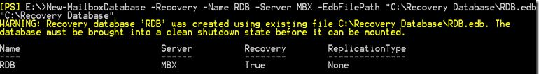New-MailboxDatabase create recovery db