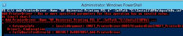 error then installing print driver using powershell cmdlet Add-PrinterDriver