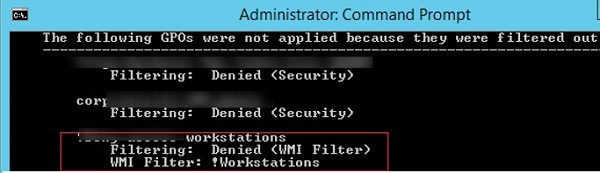 gpresult: Filtering Denied WMI Filter