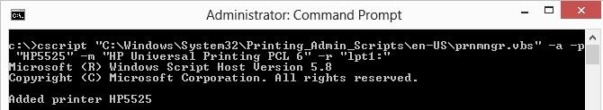 install printer from cmd in windows 8/2012