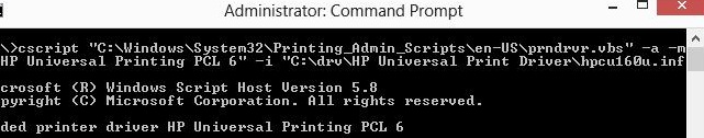 install printer driver from command prompt