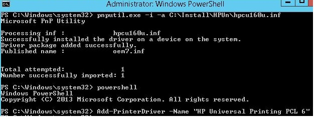 install print driver in windows 8 with powershell