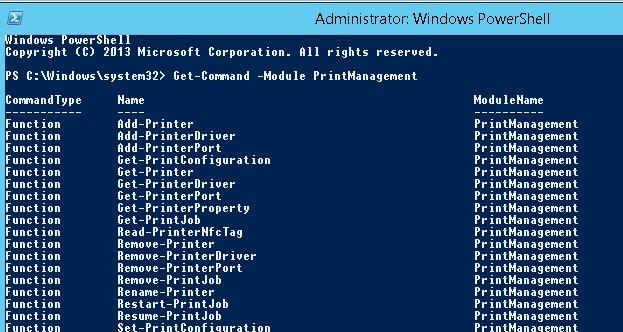 cmdlets for manage printers with powershell in windows 8