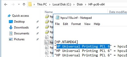 print driver name in the inf file