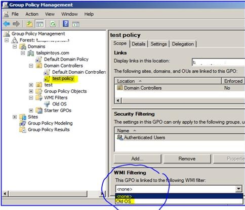select wmi filter for group policy