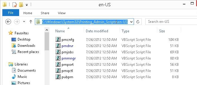 vbs script for manage printers and drivers in windows 8