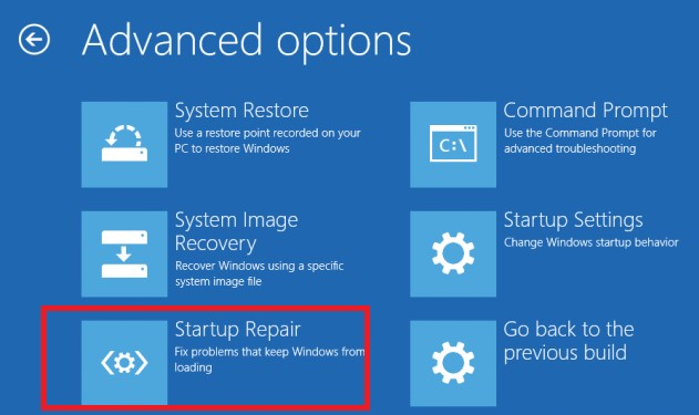windows10 Startup Repair menu