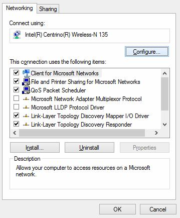 wifi adapter settings