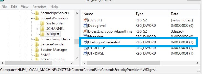 UseLogonCredential change in registry