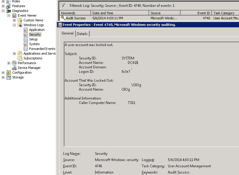Active Directory Account Domain Controller Lockout Event ID 4740