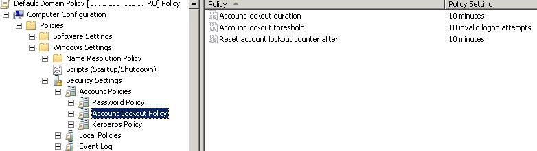 Active Directory Account Lockout Policies
