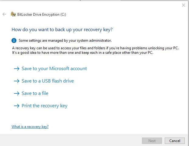 backup bitlocker recovery key in windows 10
